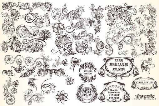 Huge set  of vector decorative elements for design
