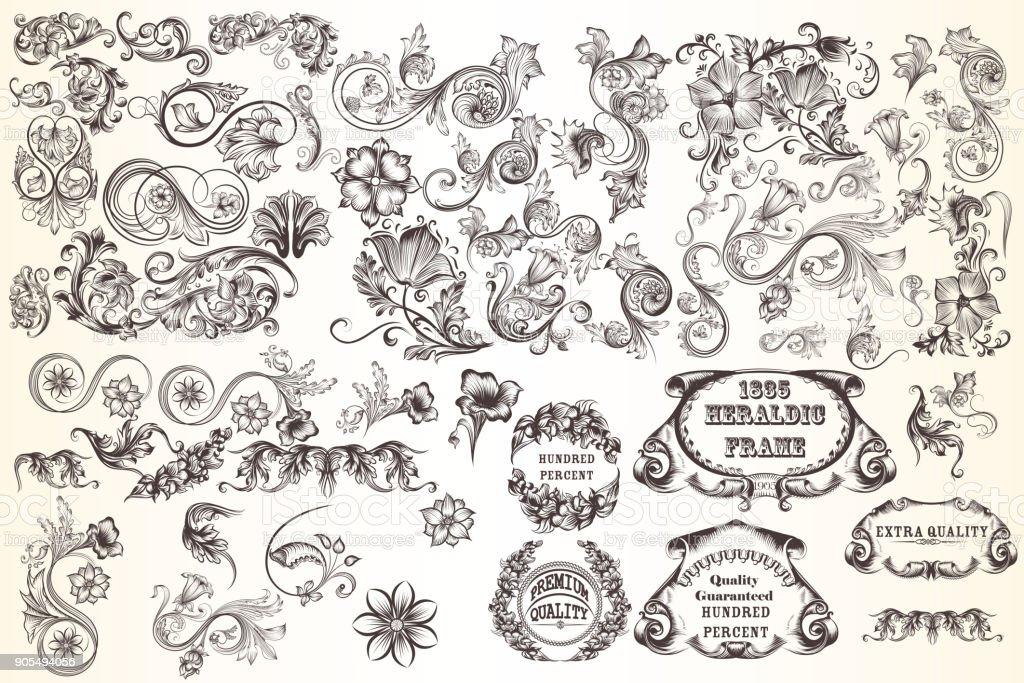 Huge set  of vector decorative elements for design vector art illustration