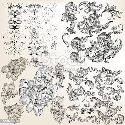 istock Huge set of vector flourishes, swirls and hand drawn flowers 855046778