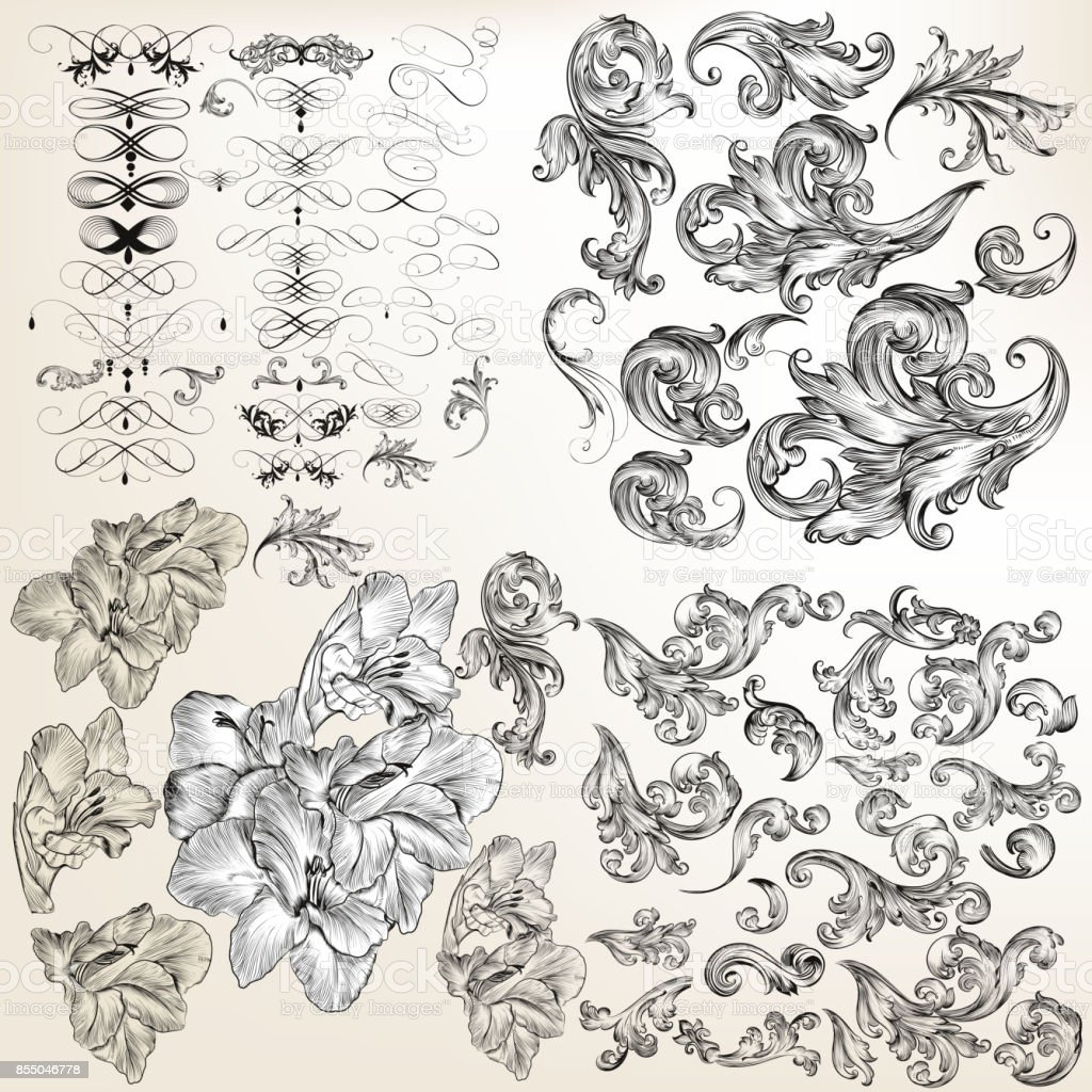 Huge set of vector flourishes, swirls and hand drawn flowers – artystyczna grafika wektorowa