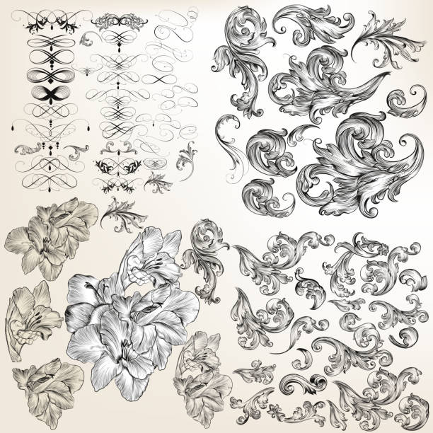 Huge set of vector flourishes, swirls and hand drawn flowers vector art illustration