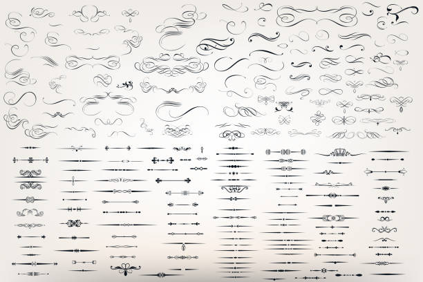 huge set or collection of vector filigree flourishes for design - book patterns stock illustrations
