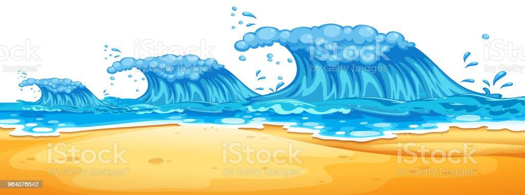 ビーチで巨大な波 - アメリカ合衆国のロイヤリティフリーベクトルアート