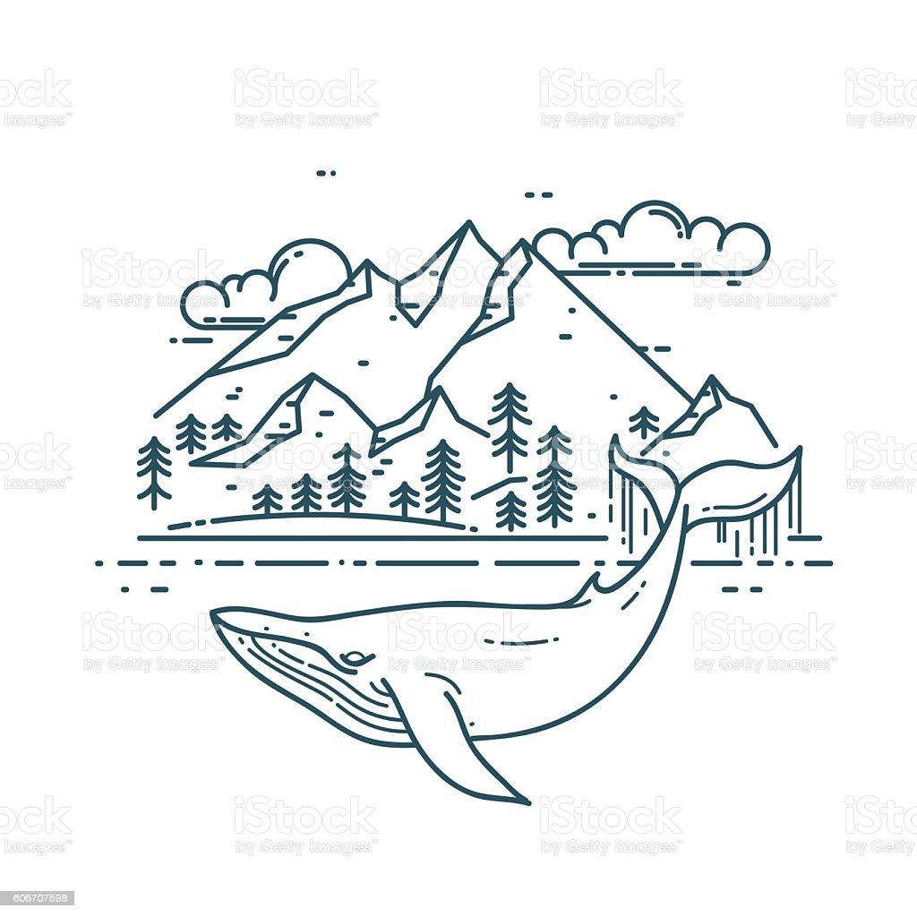 Huge Whale with mountains landscape. – Vektorgrafik