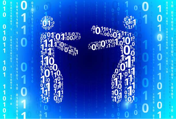 ilustrações de stock, clip art, desenhos animados e ícones de hugging binary code blue vector pattern background - future hug