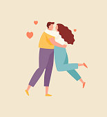 istock Hugging couple in love vector 1184829595