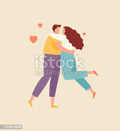 Embracing lovers man and woman. Valentine day, vector flat illustration