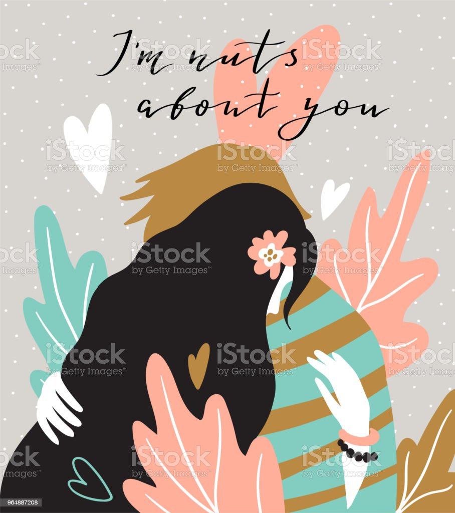 Hugging couple on the natural background with big leaves. Valentine's Day card. Cute couple in love. Vector illustration in hand drawn style. royalty-free hugging couple on the natural background with big leaves valentines day card cute couple in love vector illustration in hand drawn style stock vector art & more images of abstract