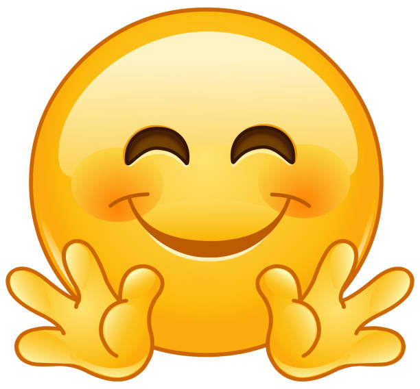 Hugging face emoticon Emoji emoticon smiling with open hands as if giving a hug cheerful stock illustrations