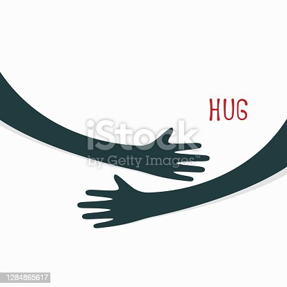 istock Hugging hands. Arm embrace, relationship hugged hands 1284865617