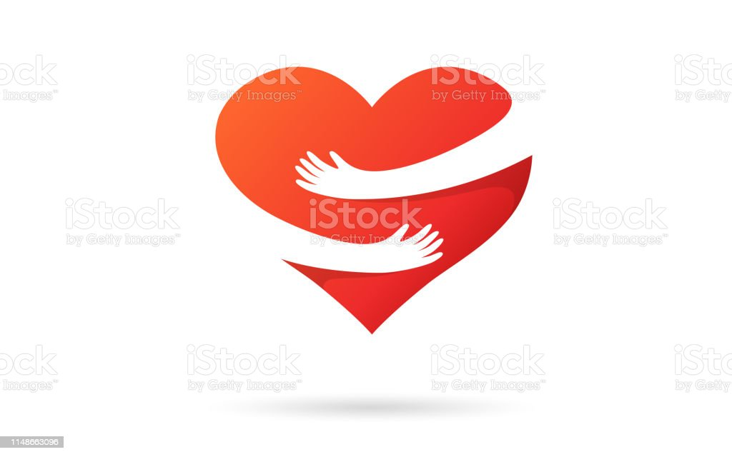Hugging heart isolated on a white background. Heart with hands. Red color. Love symbol. Hug yourself. Love yourself. Valentine's day. Icon or logo. Cute modern design. Flat style vector illustration. - Royalty-free Abraçar arte vetorial