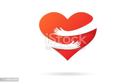 istock Hugging heart isolated on a white background. Heart with hands. Red color. Love symbol. Hug yourself. Love yourself. Valentine's day. Icon or logo. Cute modern design. Flat style vector illustration. 1148663096