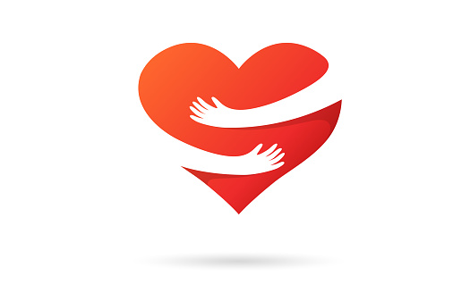 Hugging heart isolated on a white background. Heart with hands. Red color. Love symbol. Hug yourself. Love yourself. Valentine's day. Icon or logo. Cute modern design. Flat style vector illustration.