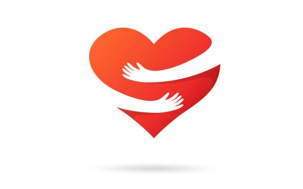 bildbanksillustrationer, clip art samt tecknat material och ikoner med kramar hjärtat isolerad på en vit bakgrund. hjärta med händer. röd färg. kärleks symbol. kram själv. älska dig själv. alla hjärtans dag. ikon eller logo typ. söt modern design. platt stil vektor illustration. - omsorg