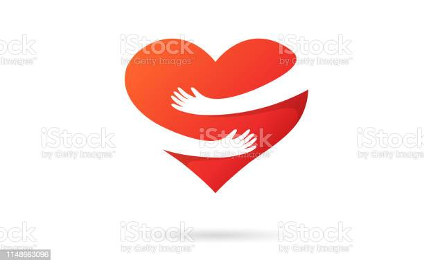 Hugging Heart Isolated On A White Background Heart With Hands Red Color Love Symbol Hug Yourself Love Yourself Valentines Day Icon Or Logo Cute Modern Design Flat Style Vector Illustration - Arte vetorial de stock e mais imagens de Abraçar