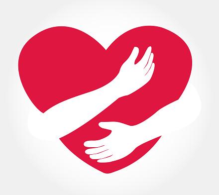 Download Hugging Heart Vector Hug Yourself Love Yourself Stock ...