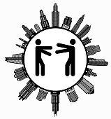 Hugging  on Modern Cityscape Skyline Background. The main image depicted is placed inside a white circle. The circle is in the center of the illustration. A detailed 100% vector cityscape skyline is placed around the circumference of the circle and includes various office, residential condominium and commercial real estate buildings. The image is black and white. The image is ideal for displaying city life concepts and ideas.