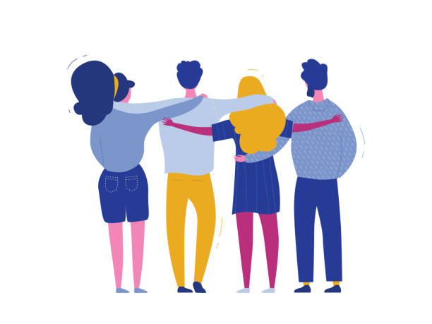 illustrazioni stock, clip art, cartoni animati e icone di tendenza di hugging people characters, international human solidarity day web banner of diverse friend group from different cultures for social help, global equality concept, communtity charity in vector - hug