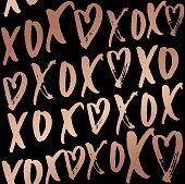 hugs and kisses seamless pattern with lettering. Rose gold design on elegance black backrouund.