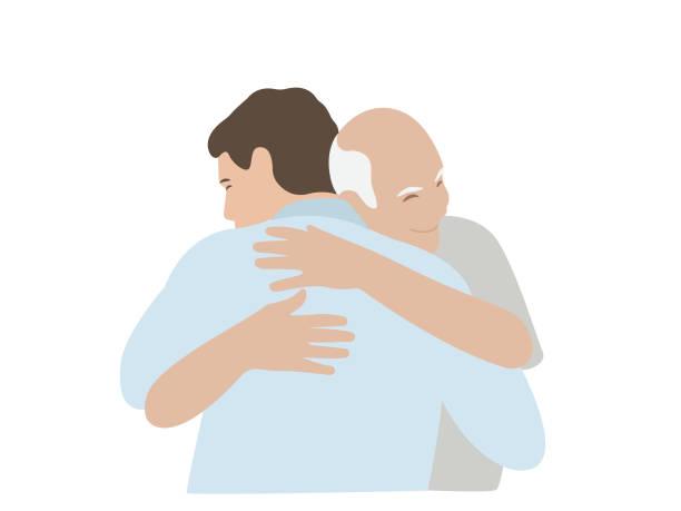 hugs man and elderly father - проживание с уходом stock illustrations