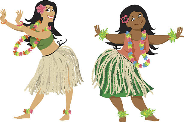 hula dance lesson - hawaiian lei stock illustrations, clip art, cartoons, & icons