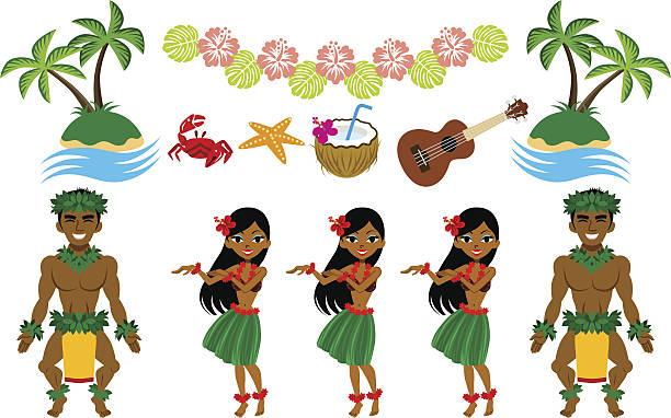 hula dancer and hawaiian image set - hawaiian lei stock illustrations, clip art, cartoons, & icons