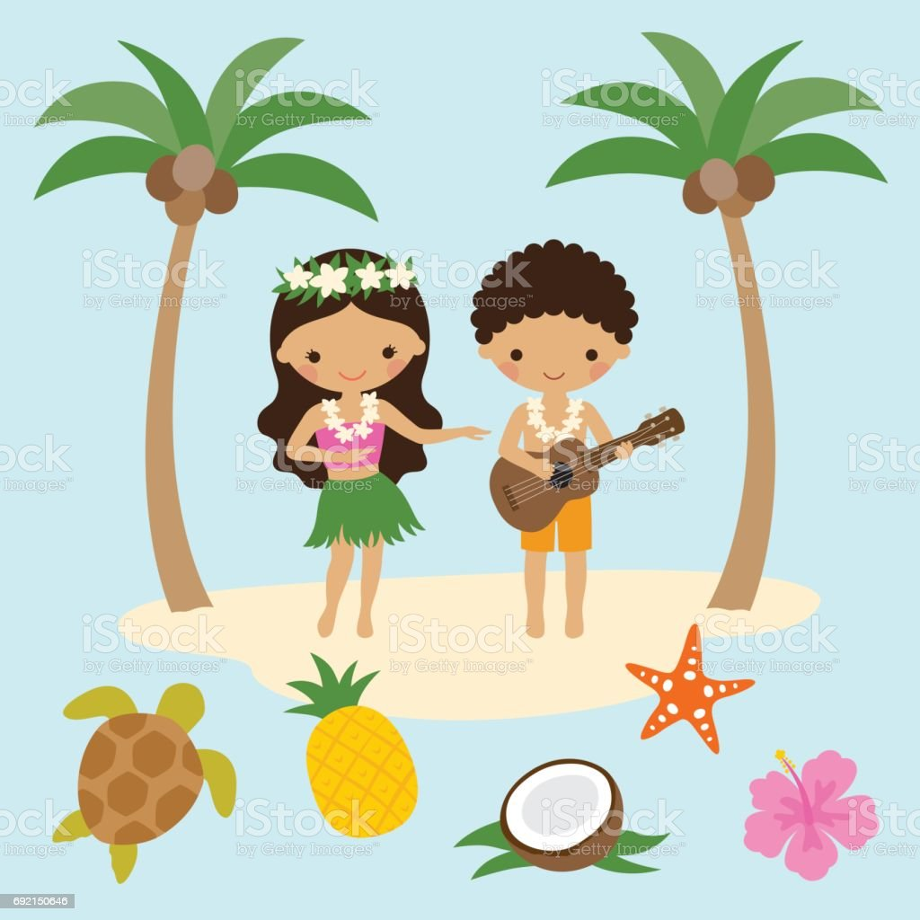 Hula Dancer Girl and Ukulele Boy in Hawaii vector art illustration