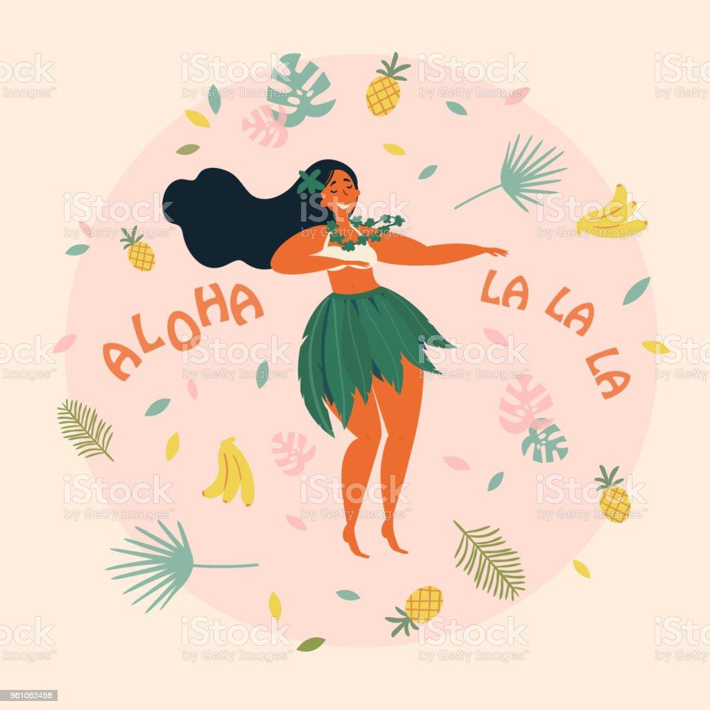 Hula dancer hawaiian girl illustration. Luau fest royalty-free hula dancer hawaiian girl illustration luau fest stock illustration - download image now