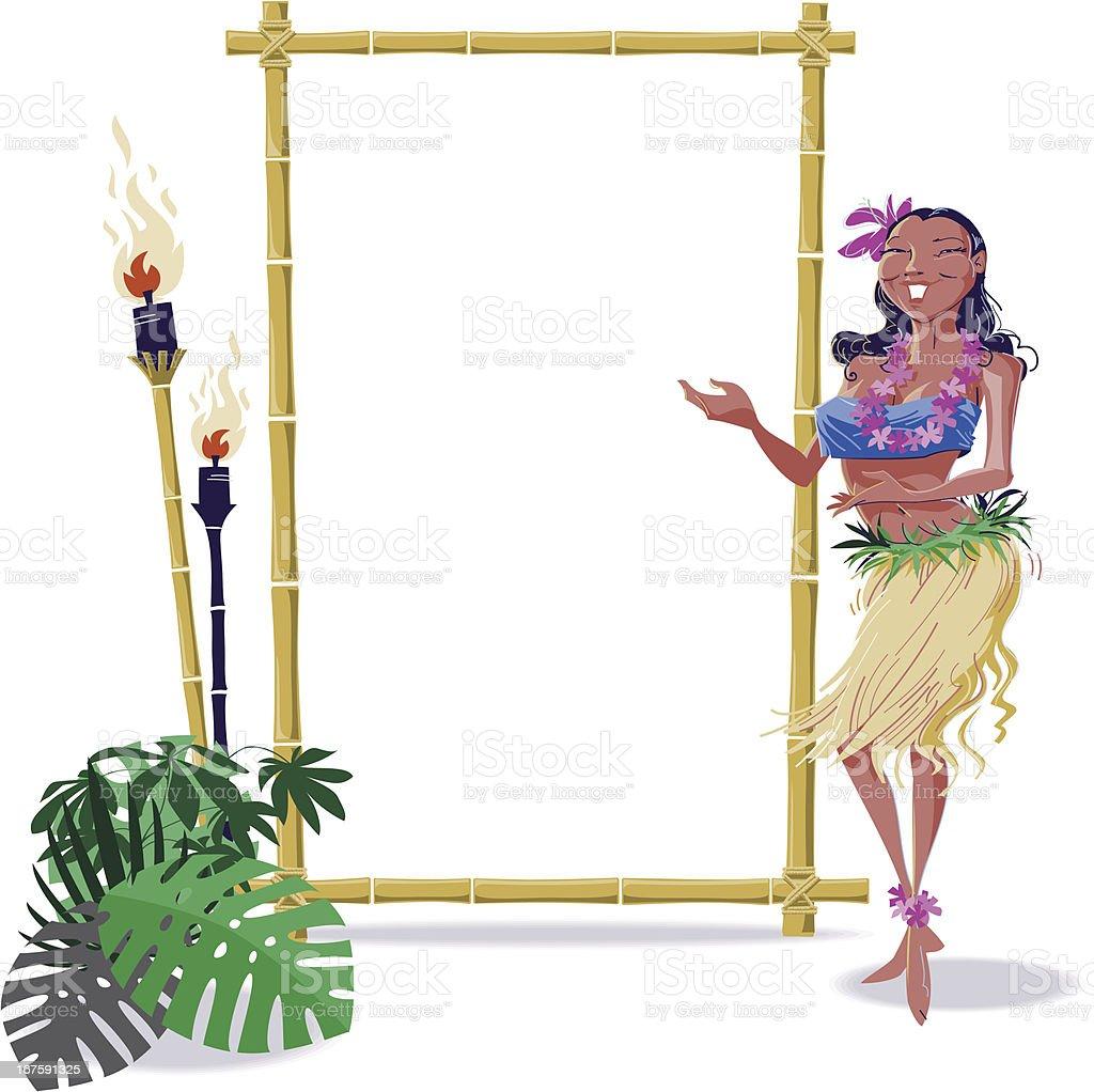 Hula Dancer with Frame vector art illustration
