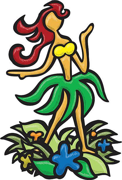 Hula Girl vector art illustration