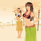 Sexy hula girls at a luau.