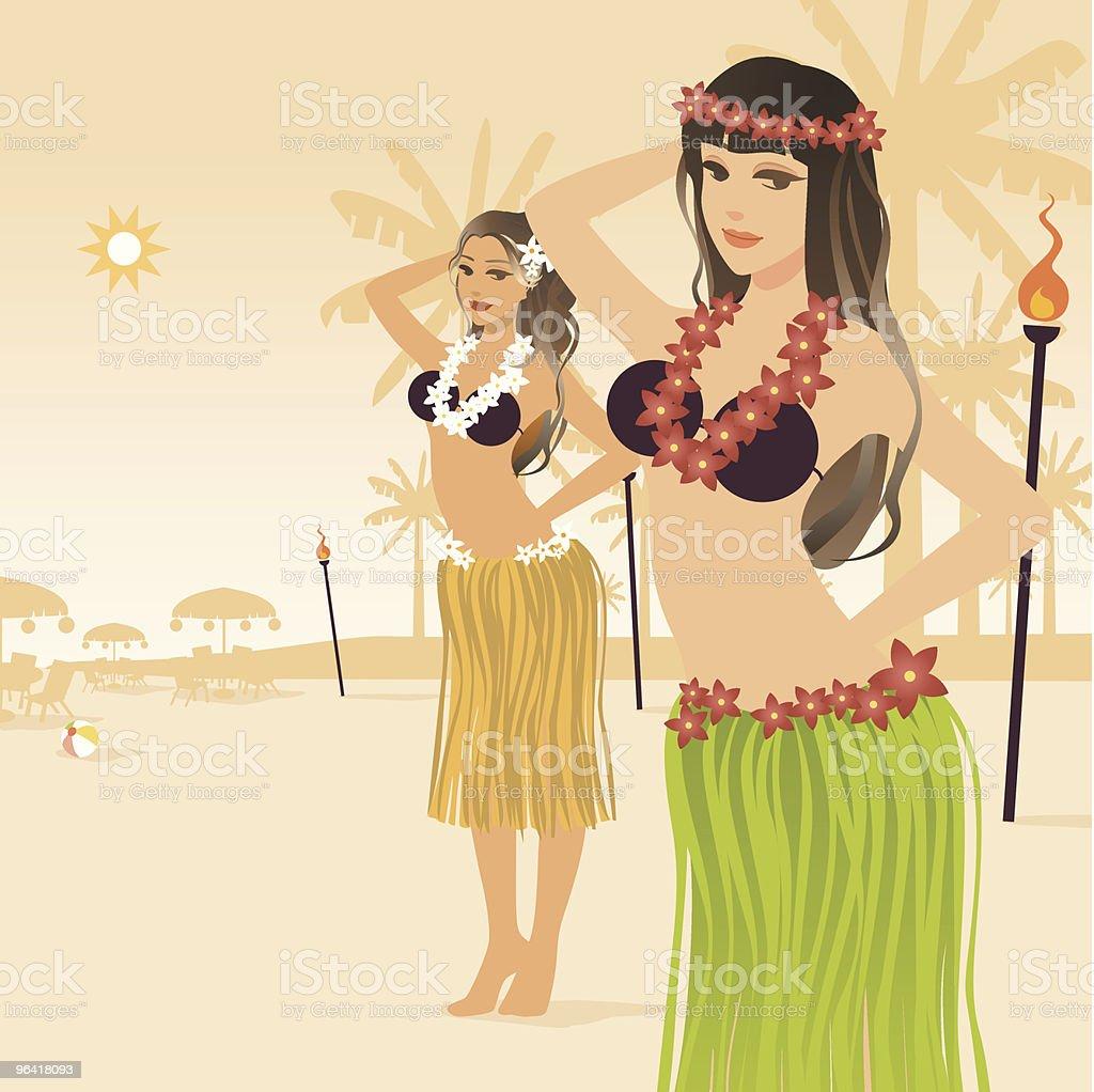 Hula girls vector art illustration