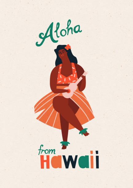 hula hawaiian girl playing guitar ukulele - hawaiian lei stock illustrations, clip art, cartoons, & icons