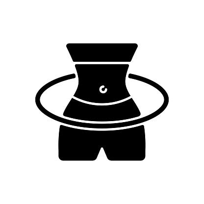 Hula Hoop workout black glyph icon
