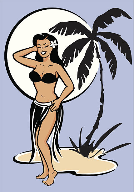 Hula Moon vector art illustration
