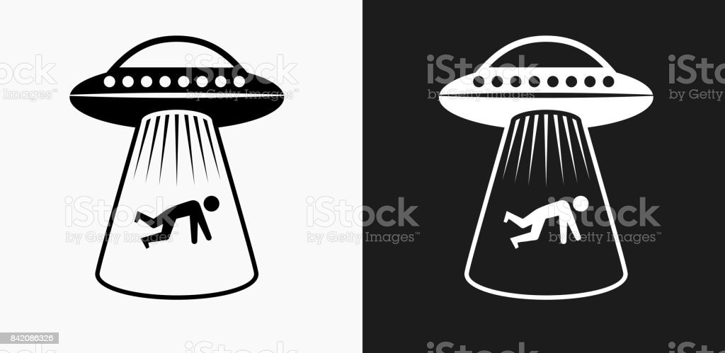 Human Abduction Icon on Black and White Vector Backgrounds vector art illustration