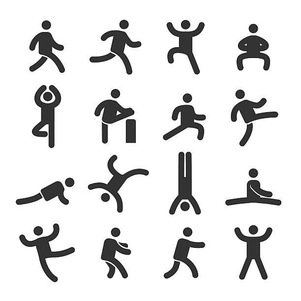 human action icons set - acme series - spagat stock-grafiken, -clipart, -cartoons und -symbole