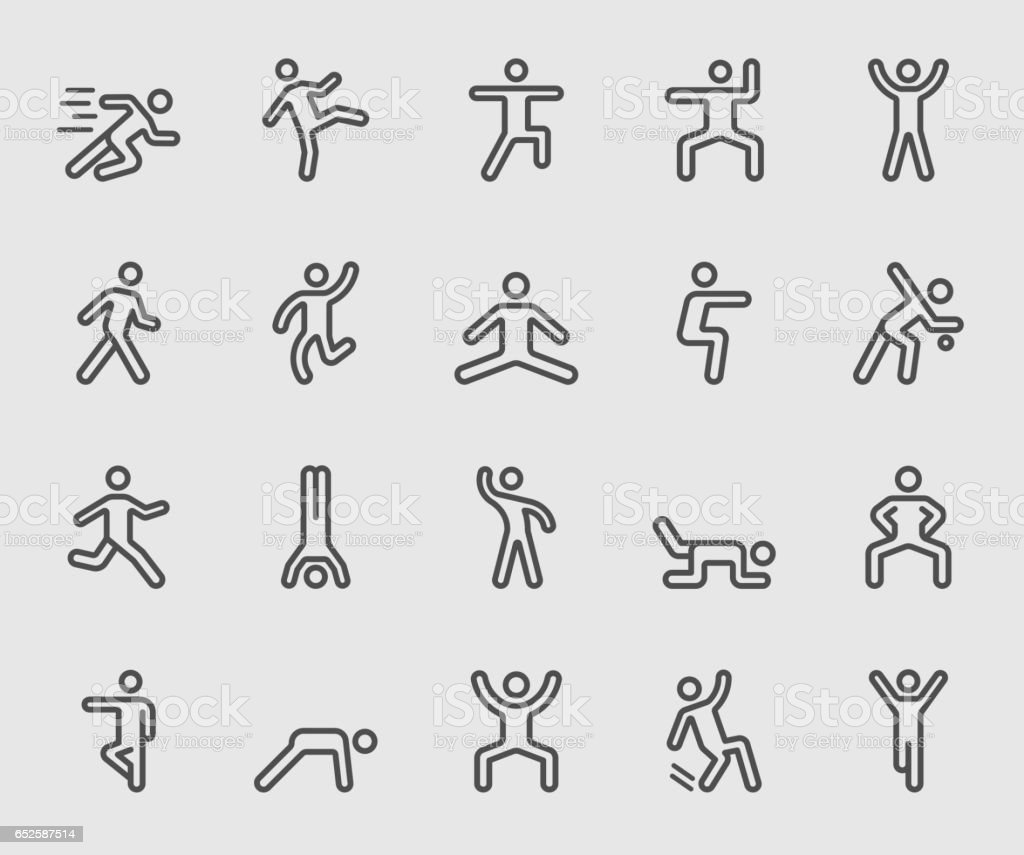 Human action line icon vector art illustration