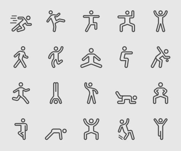 human action line icon - ходьба stock illustrations