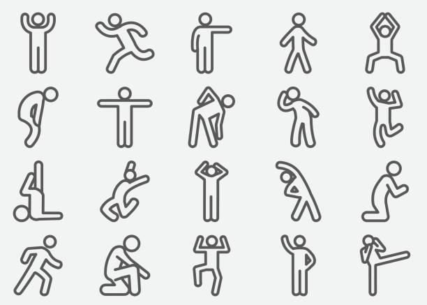 human action line icons - ходьба stock illustrations