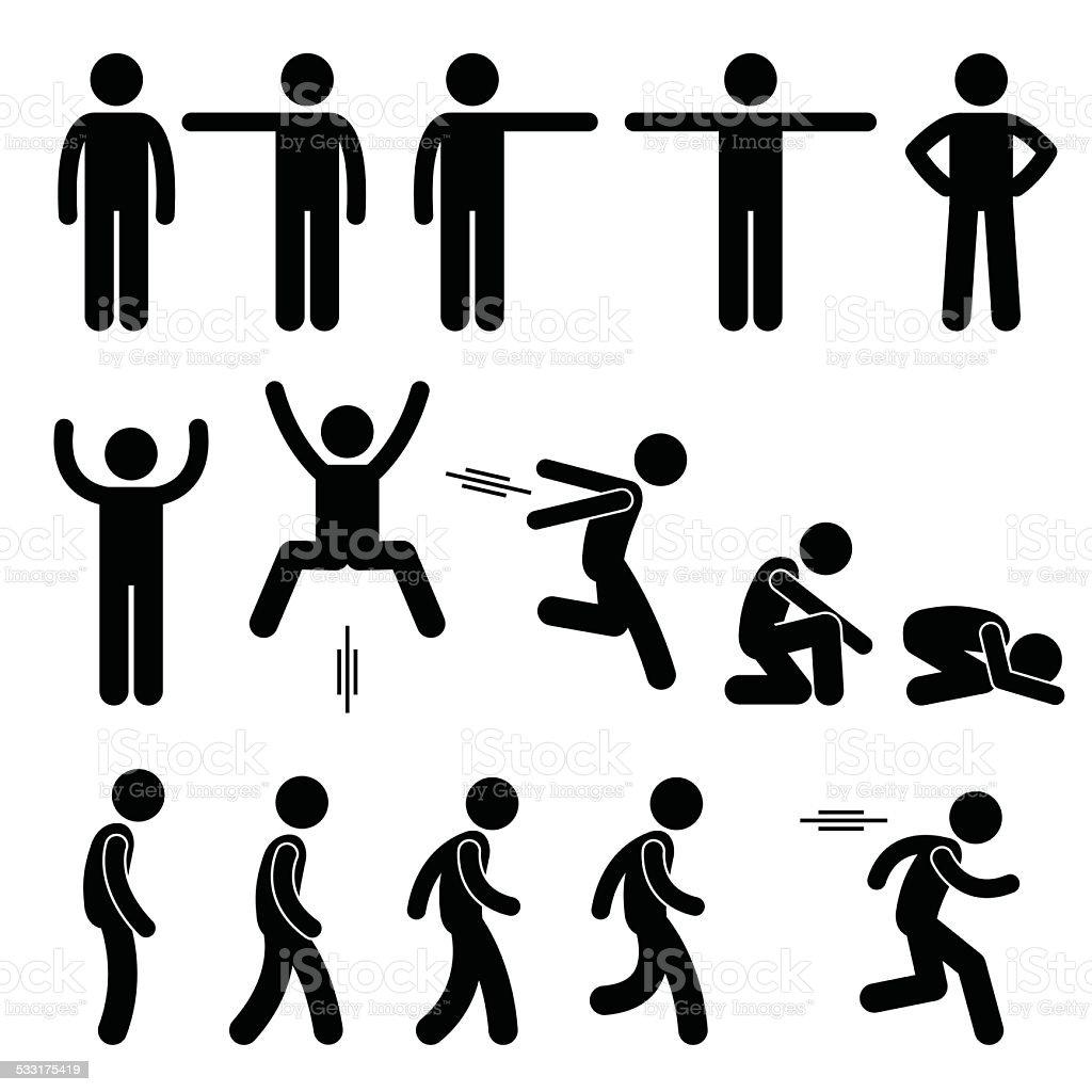 人間の行動ポーズポーズアイコンスティック pictogram のイラスト素材