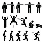 A set of human pictogram representing basic human poses such as standing, pointing, jumping, walking and running.