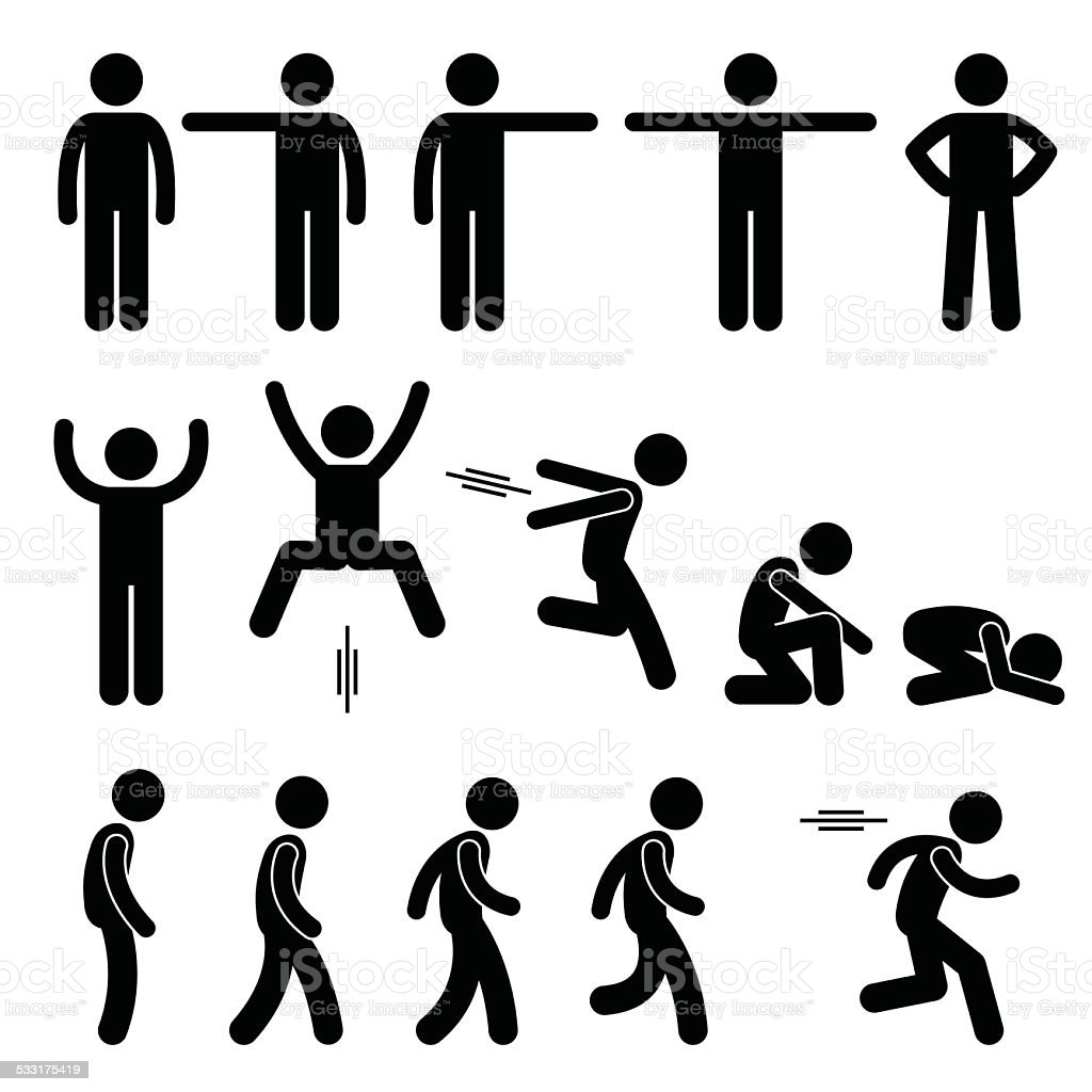 Human Action Poses Postures Stick Figure Pictogram Icons vector art illustration
