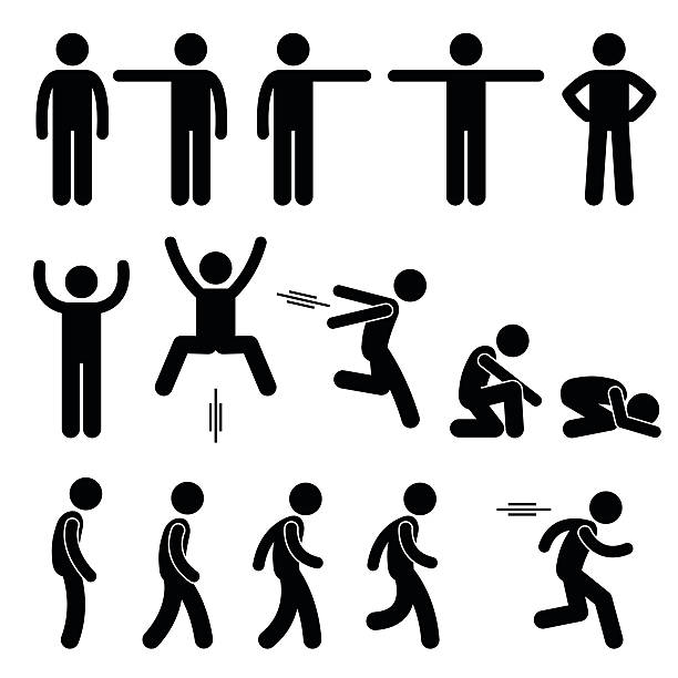 stockillustraties, clipart, cartoons en iconen met human action poses postures stick figure pictogram icons - in de camera kijken