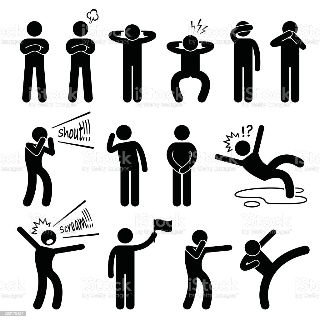 Acção humana posições de posturas Stick Figura pictograma ícones - ilustração de arte vetorial