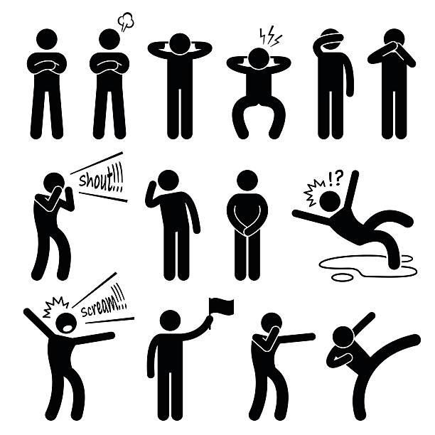 die action posen stellungen stick figure pictogram icons - gestikulieren stock-grafiken, -clipart, -cartoons und -symbole