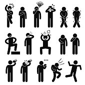 A set of human pictogram representing basic human poses such as shock, scared, anxious, facepalm, crying, toilet urgency pee poo, proud, punching own face, pulling hair out, hungry, thirsty, drinking water, reading note, celebrating, and unstable.