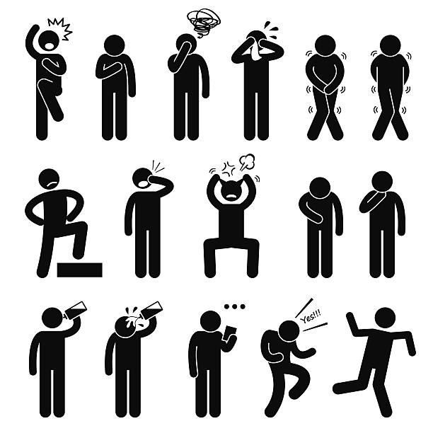Human Action Poses Postures Stick Figure Pictogram Icons A set of human pictogram representing basic human poses such as shock, scared, anxious, facepalm, crying, toilet urgency pee poo, proud, punching own face, pulling hair out, hungry, thirsty, drinking water, reading note, celebrating, and unstable. confused face stock illustrations