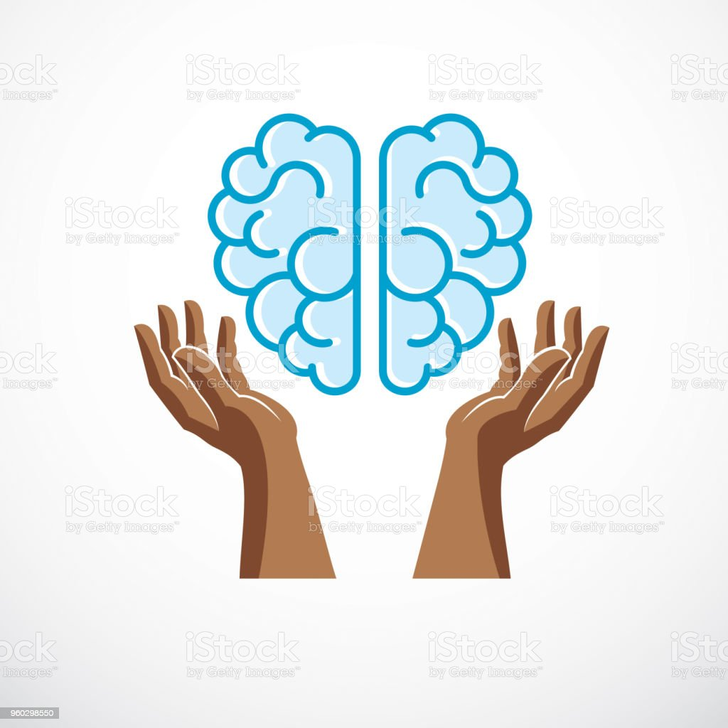 Human Anatomical Brain With Tender Defending Hands Of Care Vector ...