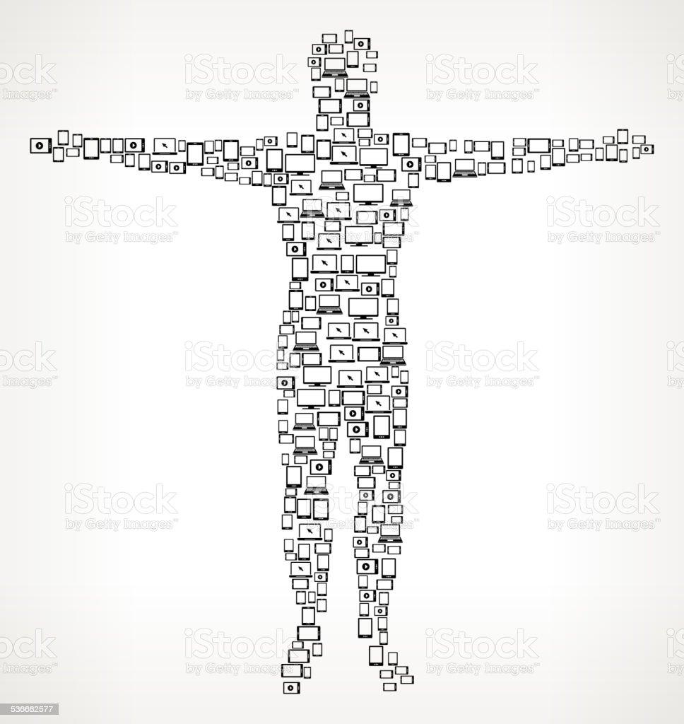 人体デジタル画面とスマートフォンのロイヤリティフリーのベクター の